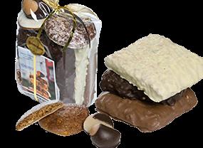 Printengeschenkpackung hell mit Schokolade und Mandel